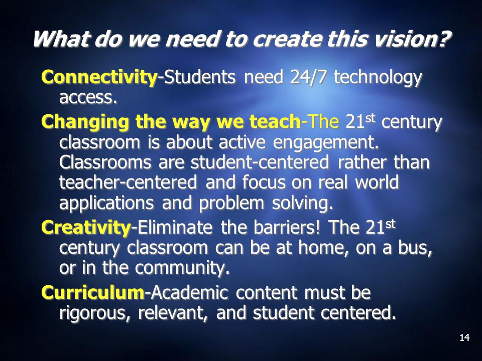 14 What do we need to create this vision. Connectivity-Students need 24/7 technology access.