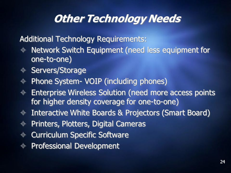 24 Other Technology Needs Additional Technology Requirements: Network Switch Equipment (need less equipment for one-to-one) Servers/Storage Phone System- VOIP (including phones) Enterprise Wireless Solution (need more access points for higher density coverage for one-to-one) Interactive White Boards & Projectors (Smart Board) Printers, Plotters, Digital Cameras Curriculum Specific Software Professional Development Additional Technology Requirements: Network Switch Equipment (need less equipment for one-to-one) Servers/Storage Phone System- VOIP (including phones) Enterprise Wireless Solution (need more access points for higher density coverage for one-to-one) Interactive White Boards & Projectors (Smart Board) Printers, Plotters, Digital Cameras Curriculum Specific Software Professional Development