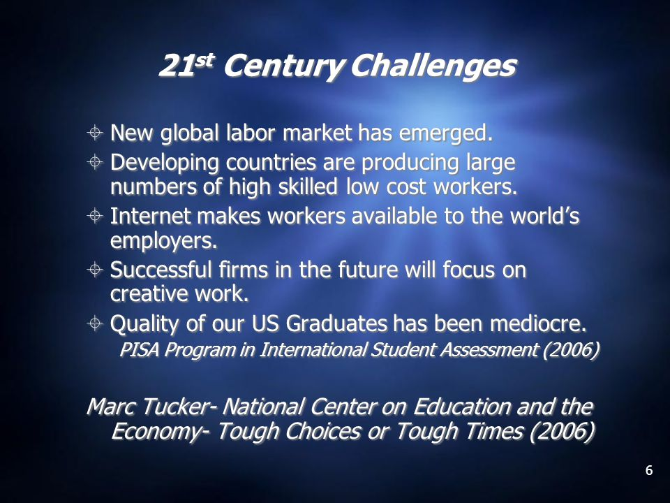 6 21 st Century Challenges New global labor market has emerged.
