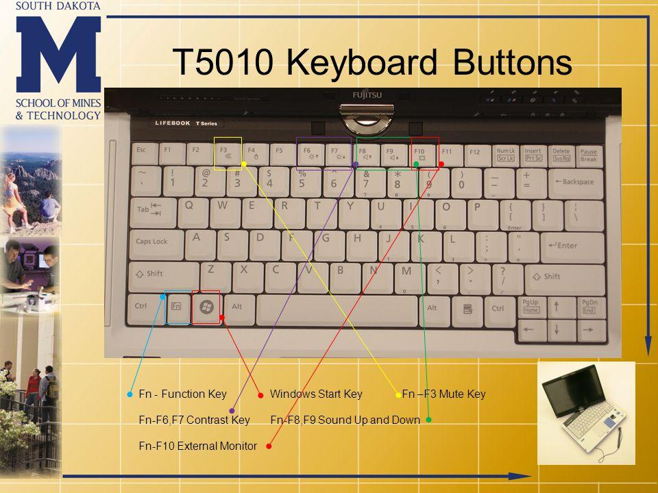 T5010 Keyboard Buttons Fn - Function KeyWindows Start KeyFn –F3 Mute Key Fn-F6,F7 Contrast KeyFn-F8,F9 Sound Up and Down Fn-F10 External Monitor