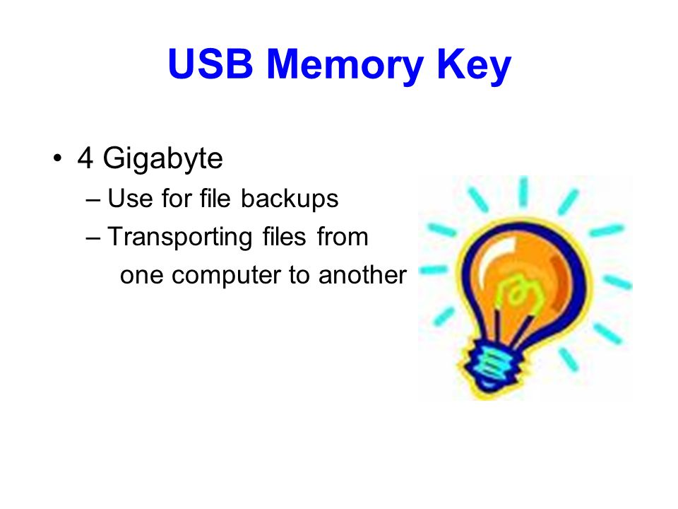 USB Memory Key 4 Gigabyte –Use for file backups –Transporting files from one computer to another