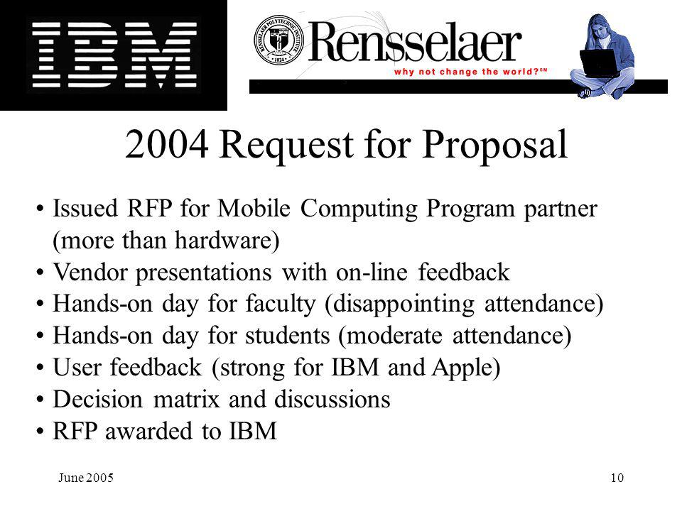 June 200510 Issued RFP for Mobile Computing Program partner (more than hardware) Vendor presentations with on-line feedback Hands-on day for faculty (disappointing attendance) Hands-on day for students (moderate attendance) User feedback (strong for IBM and Apple) Decision matrix and discussions RFP awarded to IBM 2004 Request for Proposal