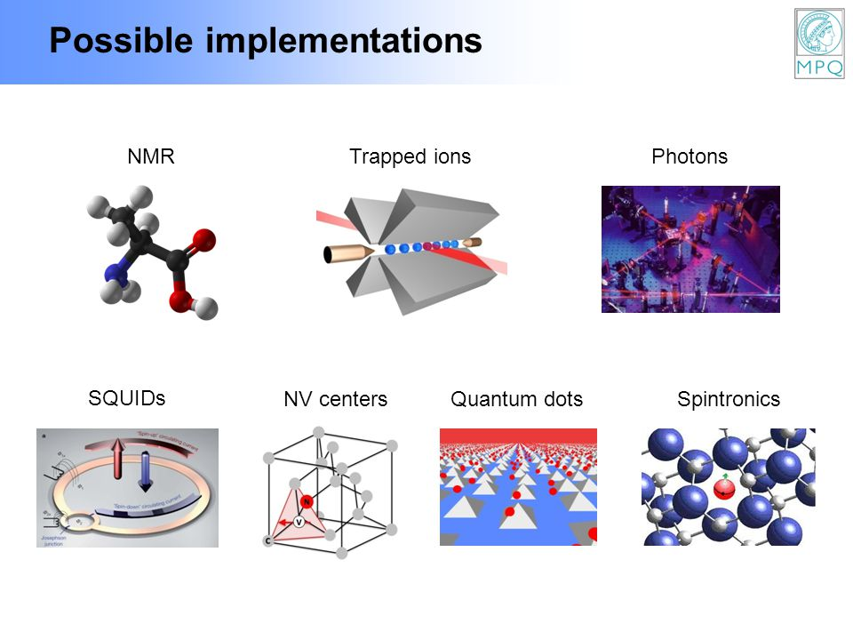 Possible implementations NV centersQuantum dotsSpintronics Trapped ionsNMRPhotons SQUIDs