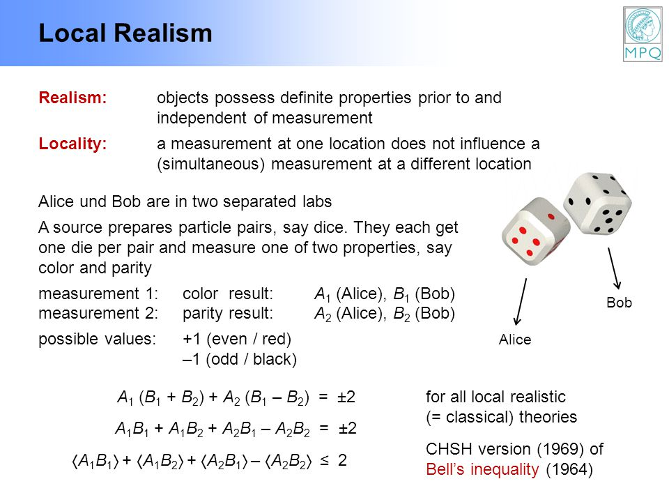 Local Realism Realism:objects possess definite properties prior to and independent of measurement Locality:a measurement at one location does not infl