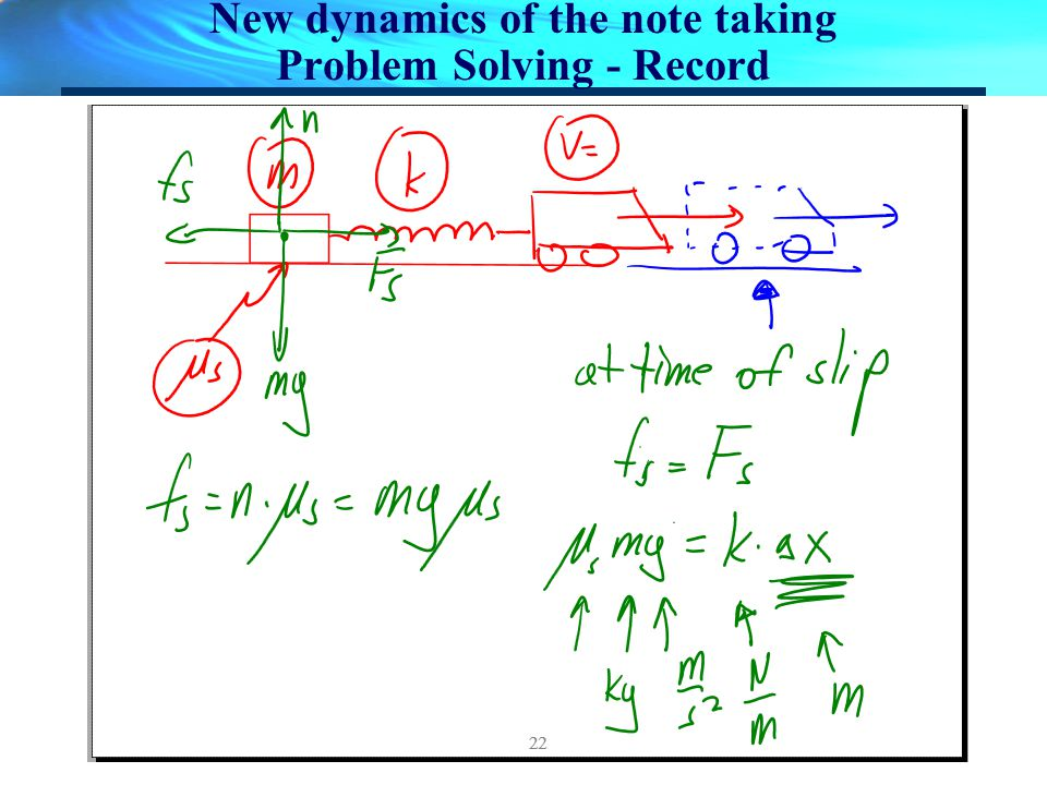 New dynamics of the note taking Problem Solving - Record