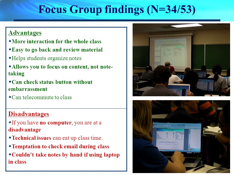 Focus Group findings (N=34/53) Advantages More interaction for the whole class Easy to go back and review material Helps students organize notes Allow