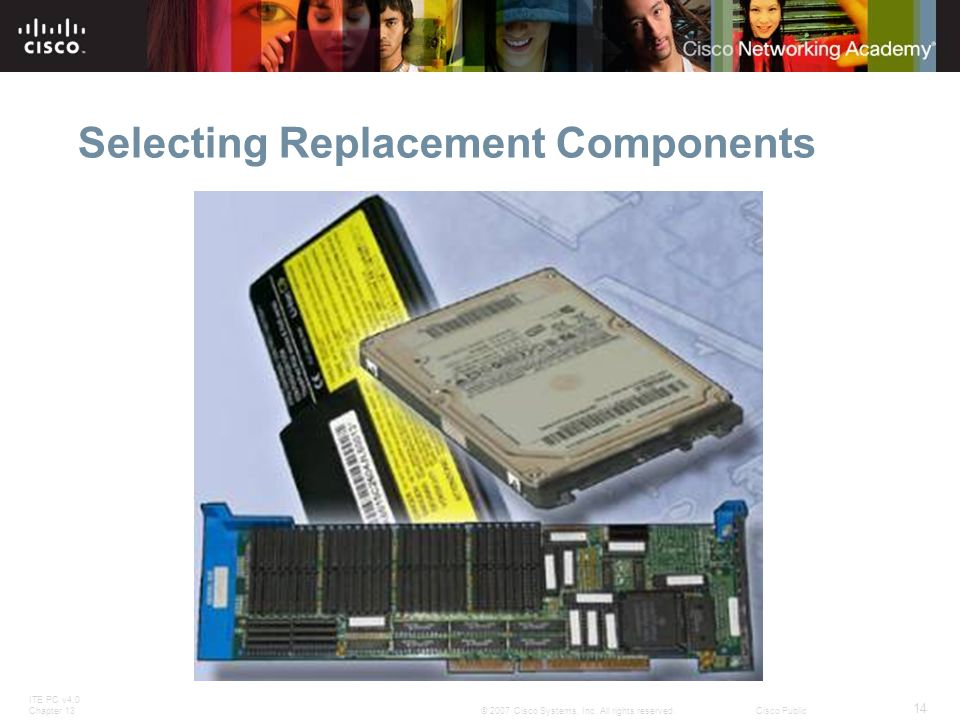 ITE PC v4.0 Chapter 13 14 © 2007 Cisco Systems, Inc. All rights reserved.Cisco Public Selecting Replacement Components