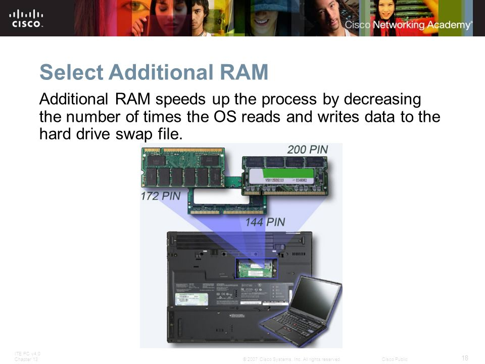 ITE PC v4.0 Chapter 13 18 © 2007 Cisco Systems, Inc. All rights reserved.Cisco Public Select Additional RAM Additional RAM speeds up the process by de