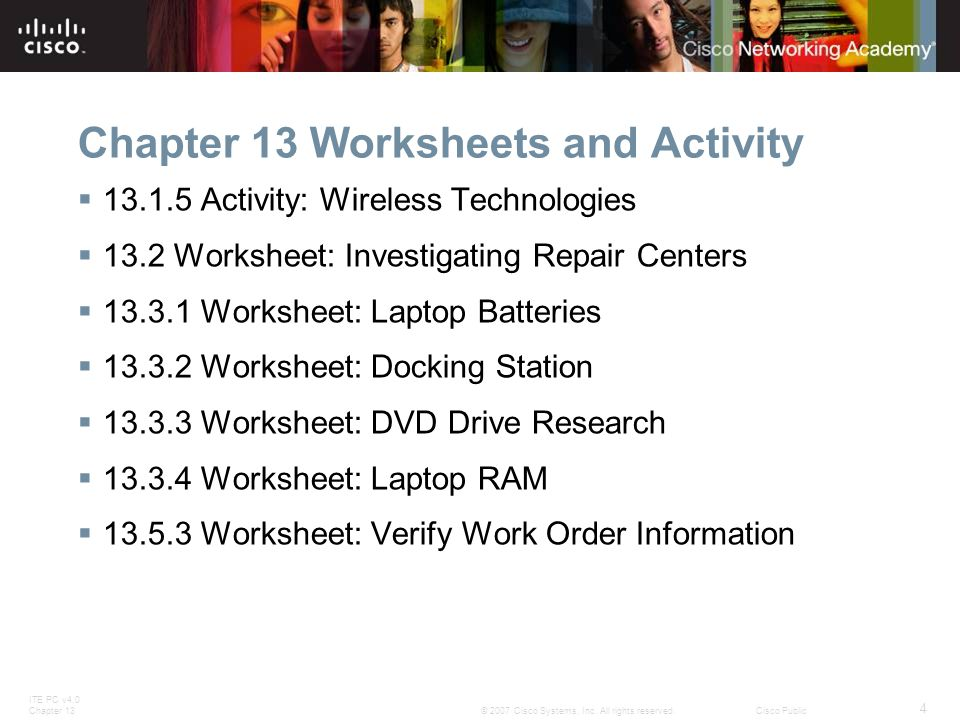 ITE PC v4.0 Chapter 13 15 © 2007 Cisco Systems, Inc.