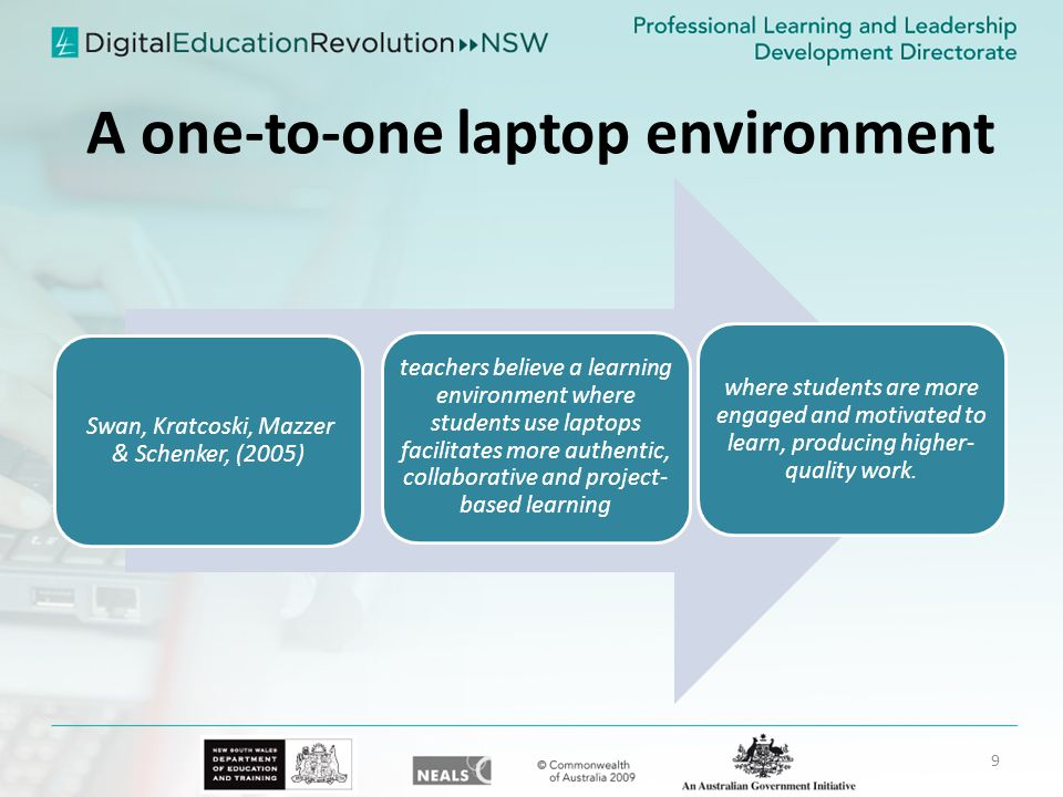 A one-to-one laptop environment Swan, Kratcoski, Mazzer & Schenker, (2005) teachers believe a learning environment where students use laptops facilitates more authentic, collaborative and project-based learning where students are more engaged and motivated to learn, producing higher- quality work.