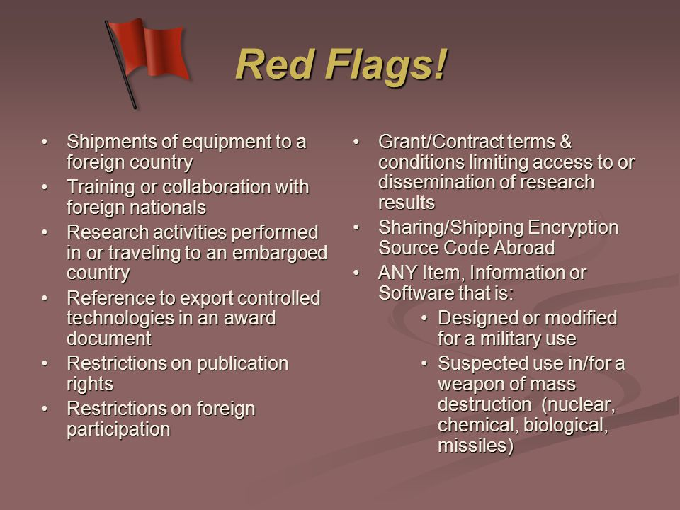 Red Flags.