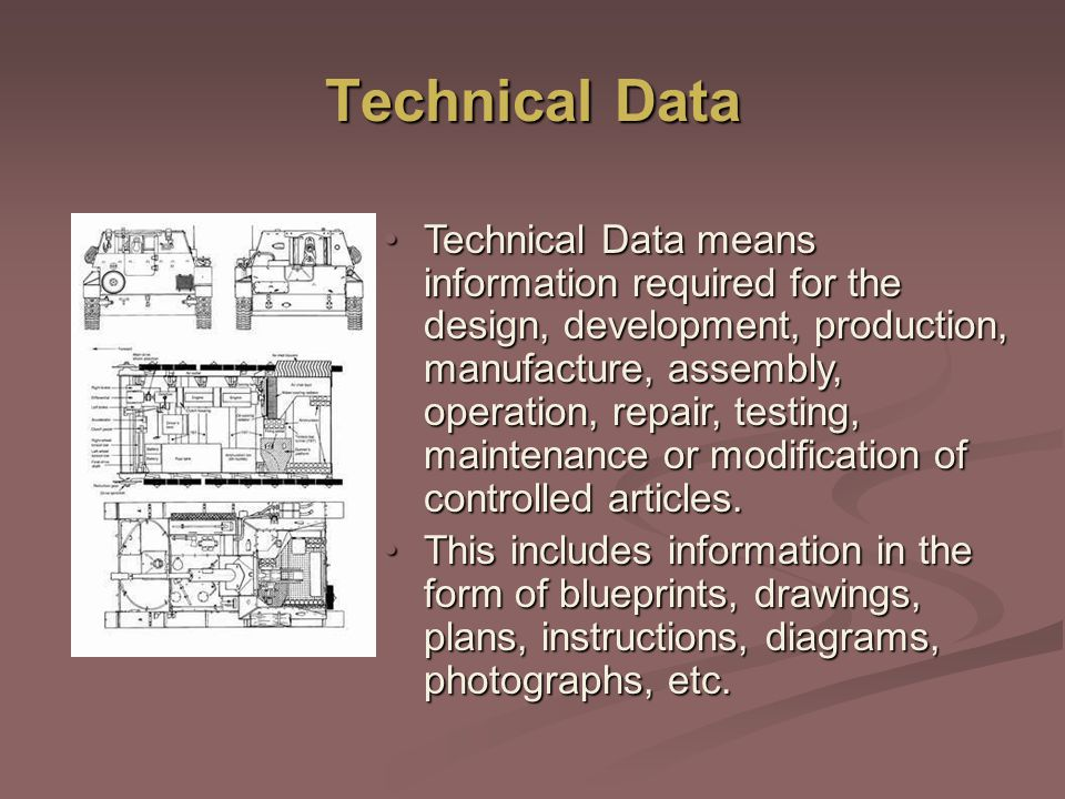 Technical Data Technical Data means information required for the design, development, production, manufacture, assembly, operation, repair, testing, maintenance or modification of controlled articles.Technical Data means information required for the design, development, production, manufacture, assembly, operation, repair, testing, maintenance or modification of controlled articles.