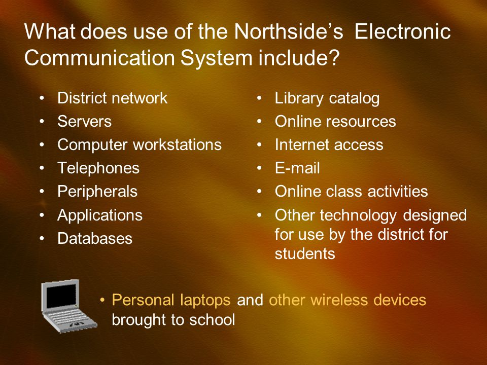 What does use of the Northsides Electronic Communication System include.