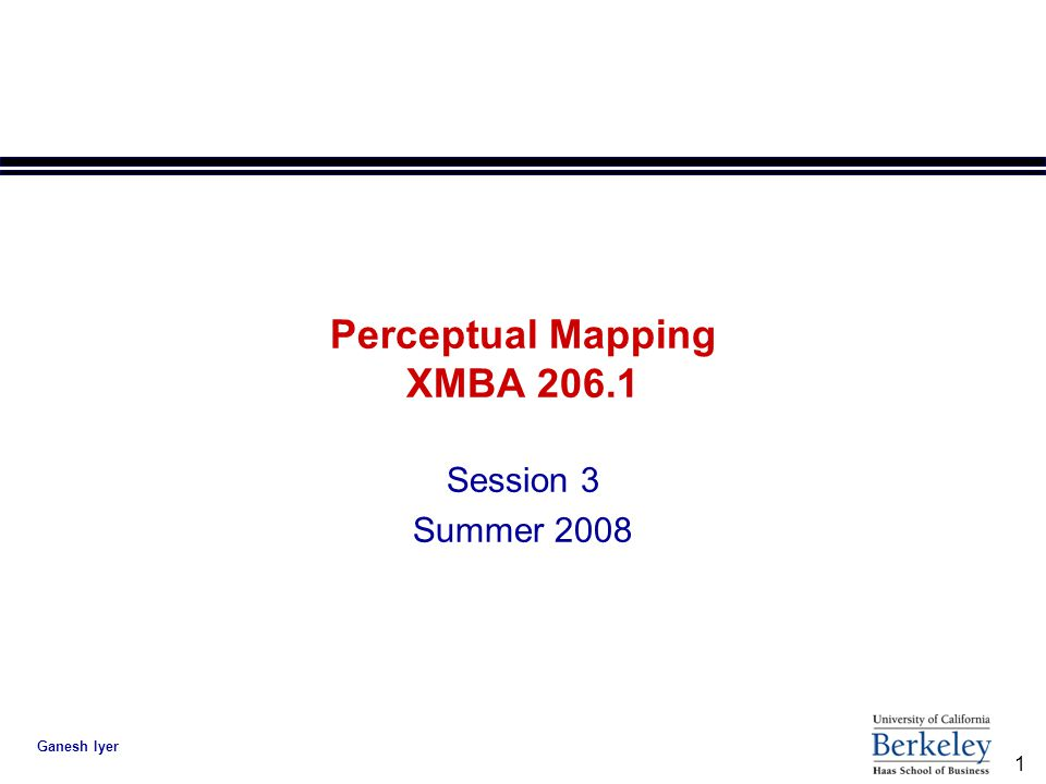1 Ganesh Iyer Perceptual Mapping XMBA 206.1 Session 3 Summer 2008