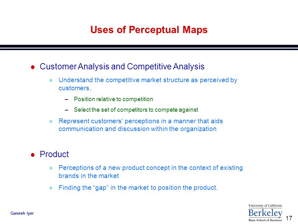 17 Ganesh Iyer Uses of Perceptual Maps l Customer Analysis and Competitive Analysis »Understand the competitive market structure as perceived by customers.