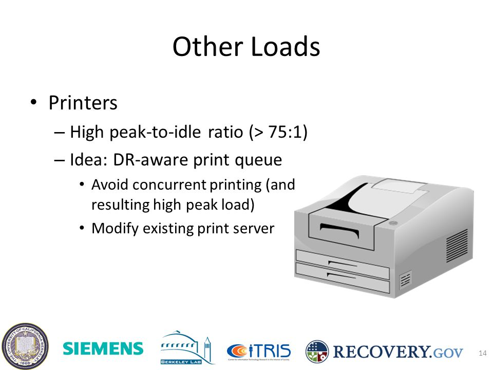 Other Loads Printers – High peak-to-idle ratio (> 75:1) – Idea: DR-aware print queue Avoid concurrent printing (and resulting high peak load) Modify existing print server 14