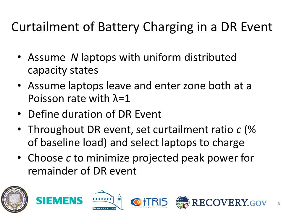 Curtailment of Battery Charging in a DR Event Assume N laptops with uniform distributed capacity states Assume laptops leave and enter zone both at a