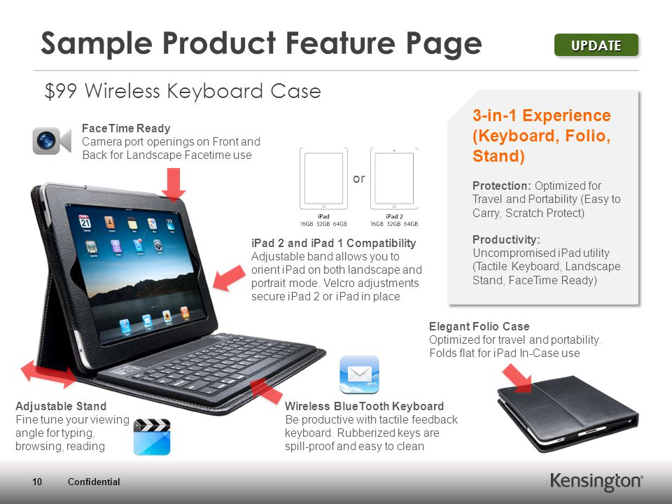 10 Confidential Sample Product Feature Page $99 Wireless Keyboard Case 3-in-1 Experience (Keyboard, Folio, Stand) Protection: Optimized for Travel and Portability (Easy to Carry, Scratch Protect) Productivity: Uncompromised iPad utility (Tactile Keyboard, Landscape Stand, FaceTime Ready) FaceTime Ready Camera port openings on Front and Back for Landscape Facetime use iPad 2 and iPad 1 Compatibility Adjustable band allows you to orient iPad on both landscape and portrait mode.