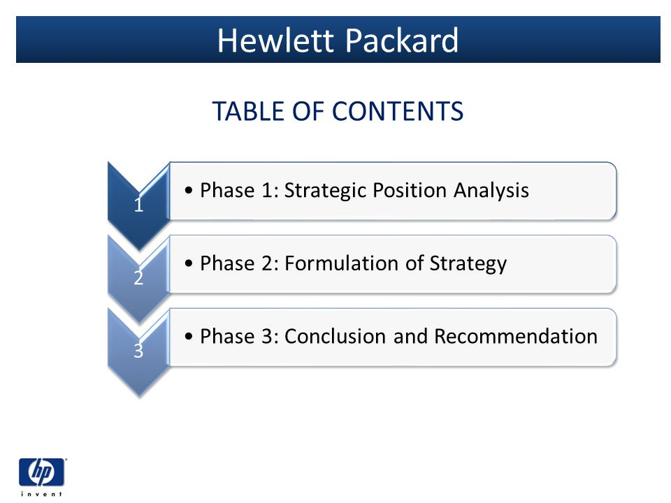 Hewlett Packard TABLE OF CONTENTS 1 Phase 1: Strategic Position Analysis 2 Phase 2: Formulation of Strategy 3 Phase 3: Conclusion and Recommendation