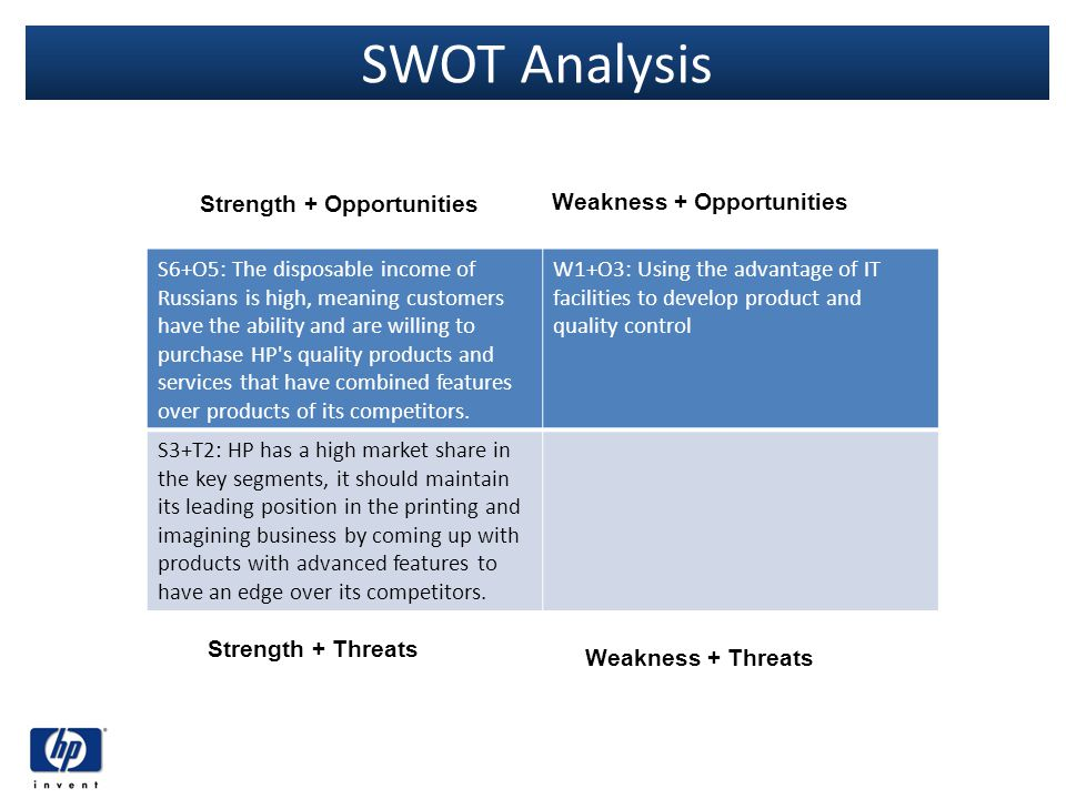 SWOT Analysis S6+O5: The disposable income of Russians is high, meaning customers have the ability and are willing to purchase HP's quality products a