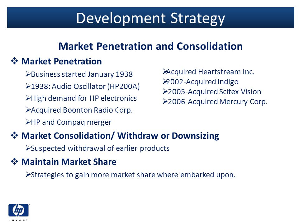 Development Strategy Market Penetration and Consolidation Market Penetration Business started January 1938 1938: Audio Oscillator (HP200A) High demand
