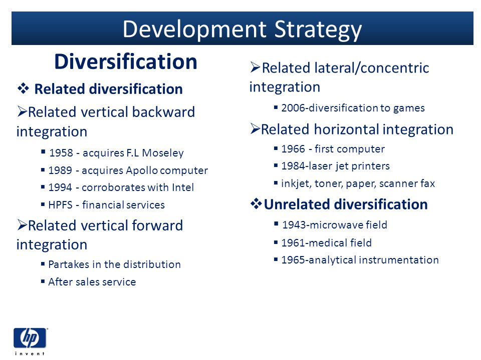 Development Strategy Diversification Related diversification Related vertical backward integration 1958 - acquires F.L Moseley 1989 - acquires Apollo
