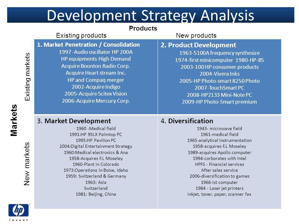 Development Strategy Analysis 1. Market Penetration / Consolidation 1997 -Audio oscillator HP 200A HP equipments High Demand Acquire Boonton Radio Cor