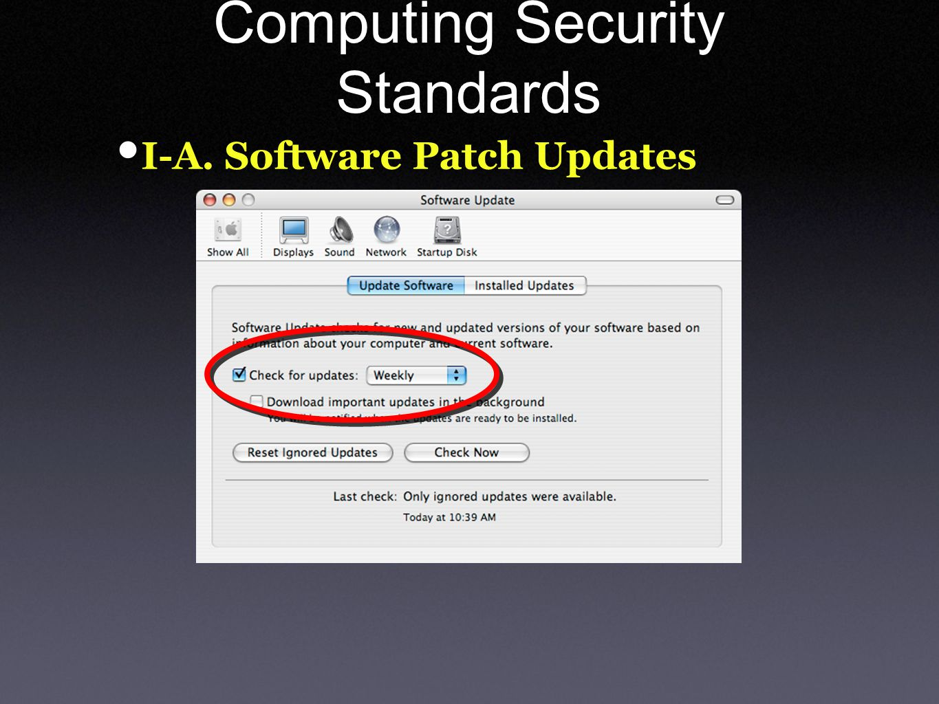 Computing Security Standards I-A. Software Patch Updates