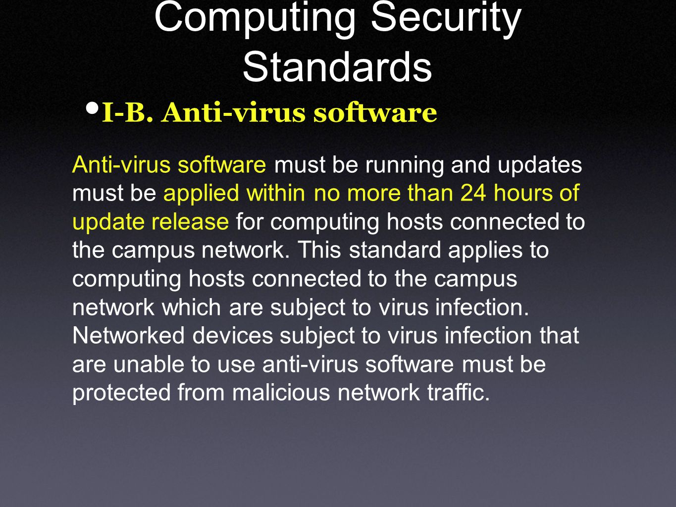 Computing Security Standards I-B.