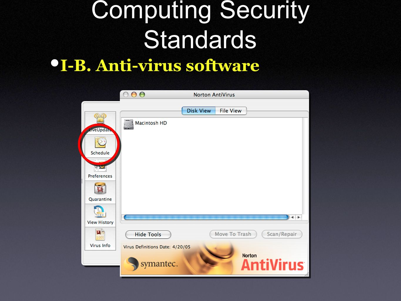 Computing Security Standards I-B. Anti-virus software