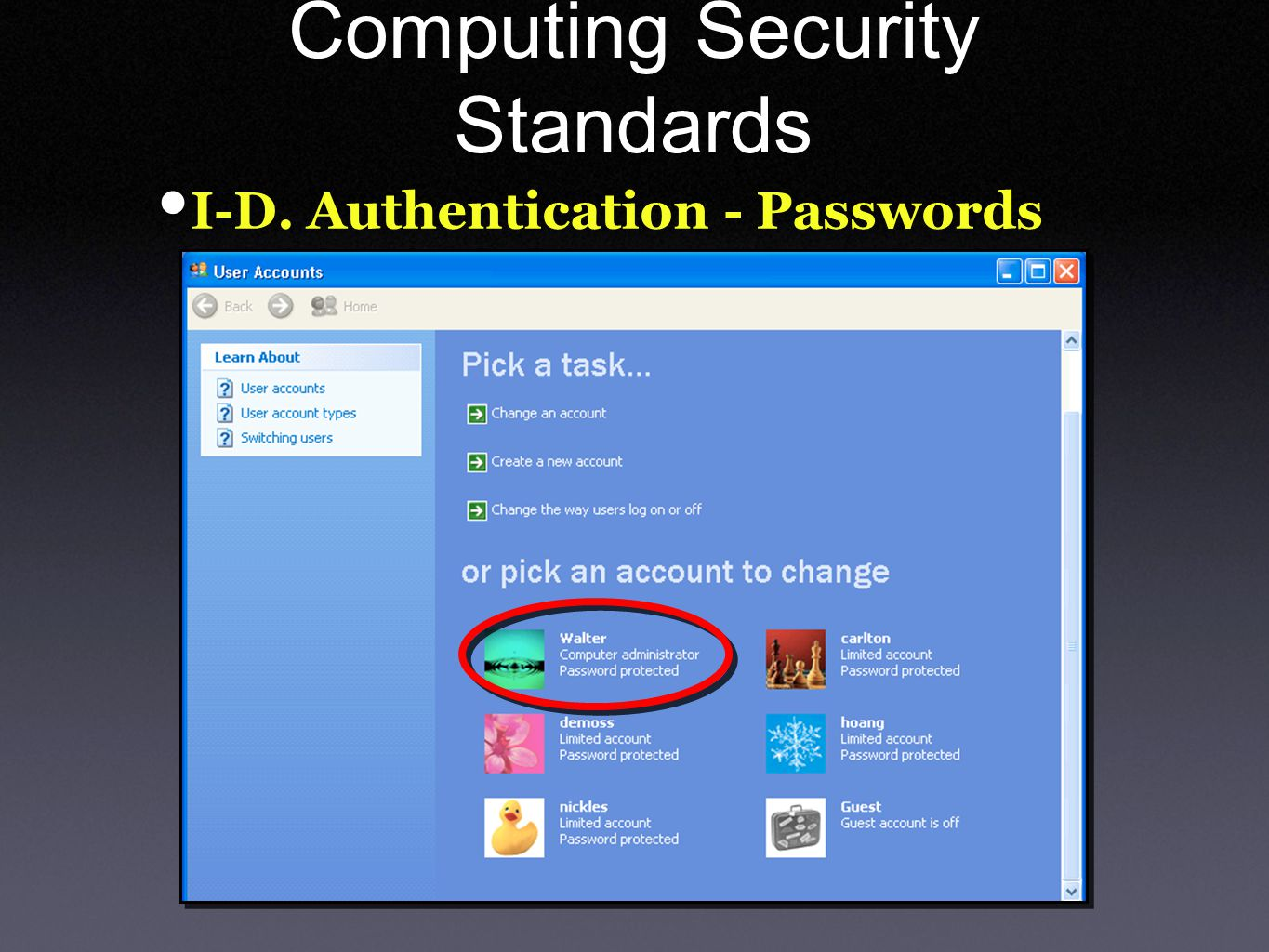 Computing Security Standards I-D. Authentication - Passwords