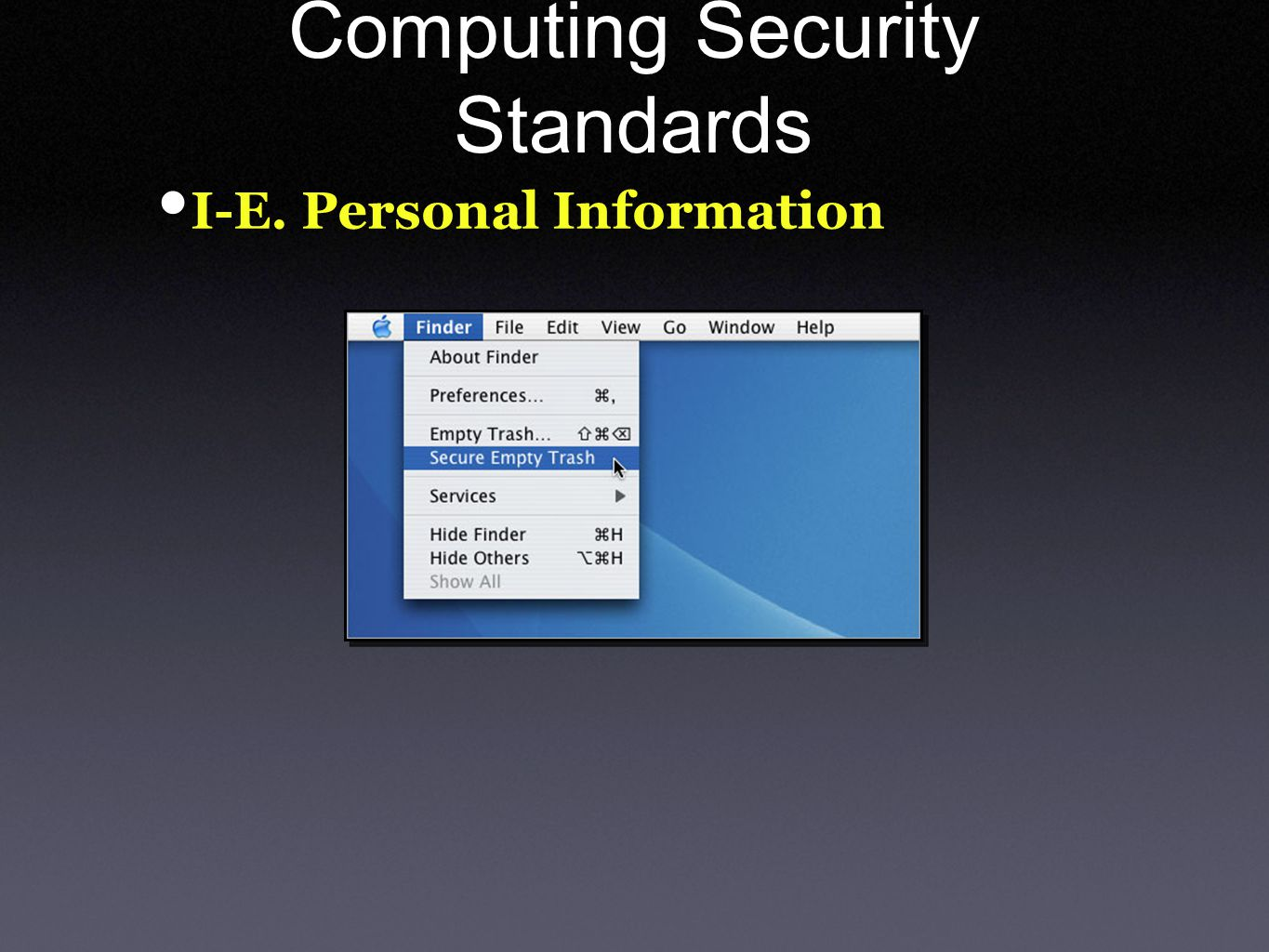 Computing Security Standards I-E. Personal Information