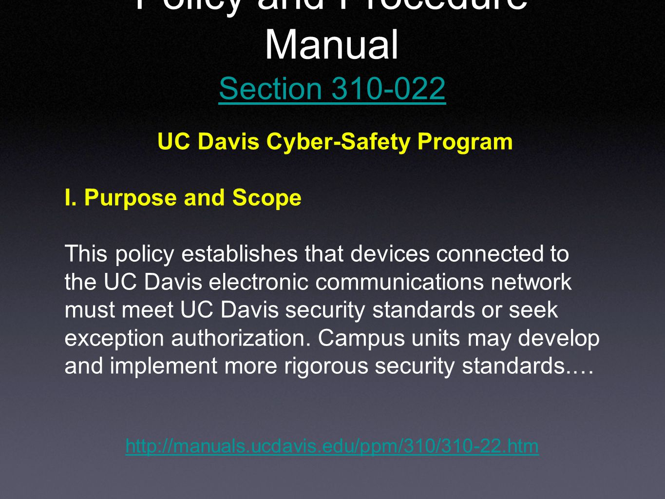 UC Davis Cyber-Safety Program I.