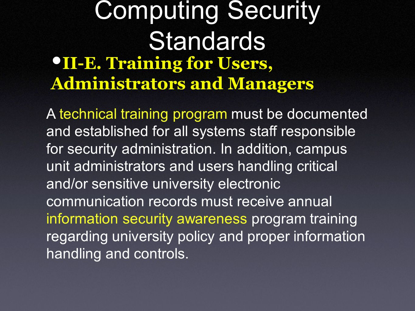 Computing Security Standards II-E.