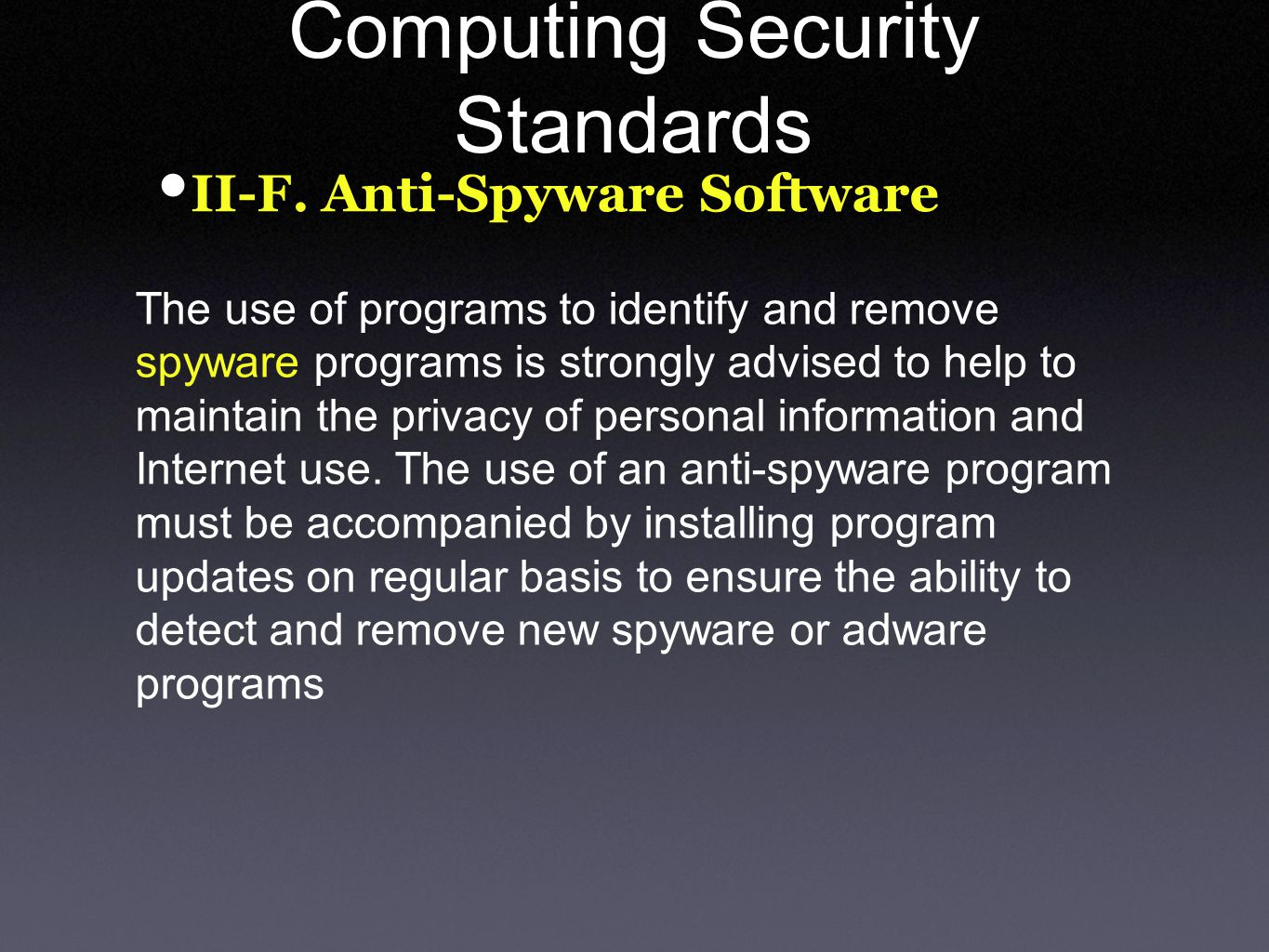 Computing Security Standards II-F.