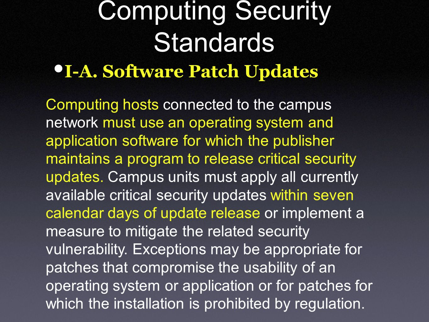 Computing Security Standards I-A.