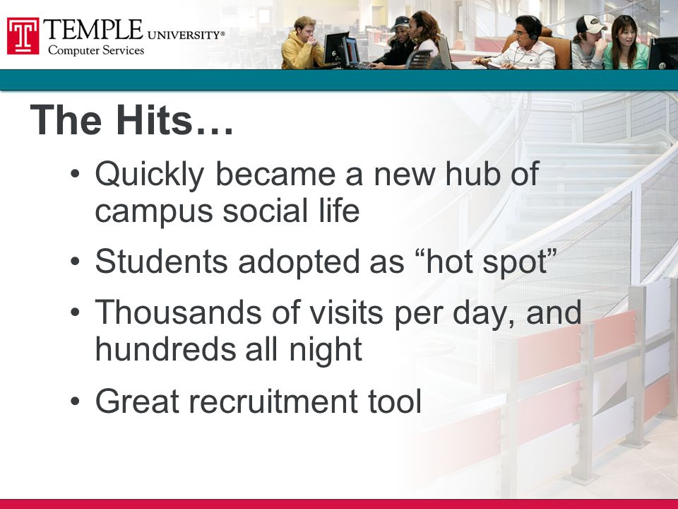 The Hits… Quickly became a new hub of campus social life Students adopted as hot spot Thousands of visits per day, and hundreds all night Great recruitment tool