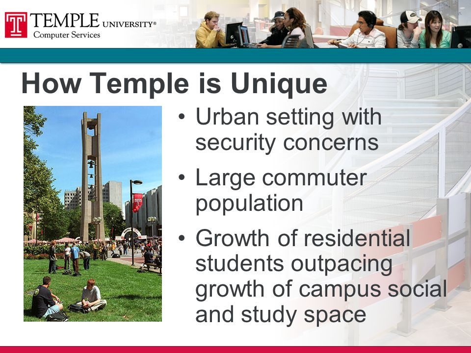 How Temple is Unique Urban setting with security concerns Large commuter population Growth of residential students outpacing growth of campus social and study space