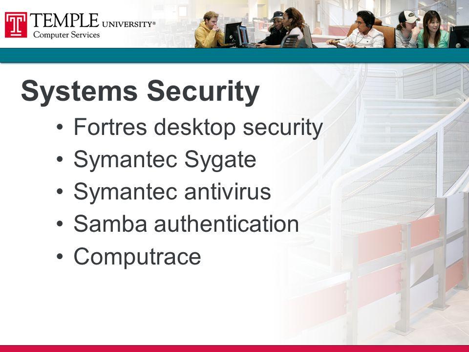 Systems Security Fortres desktop security Symantec Sygate Symantec antivirus Samba authentication Computrace