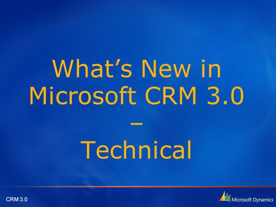 CRM 3.0 Agenda Microsoft CRM Client for Microsoft Office Outlook Enhanced E-Mail