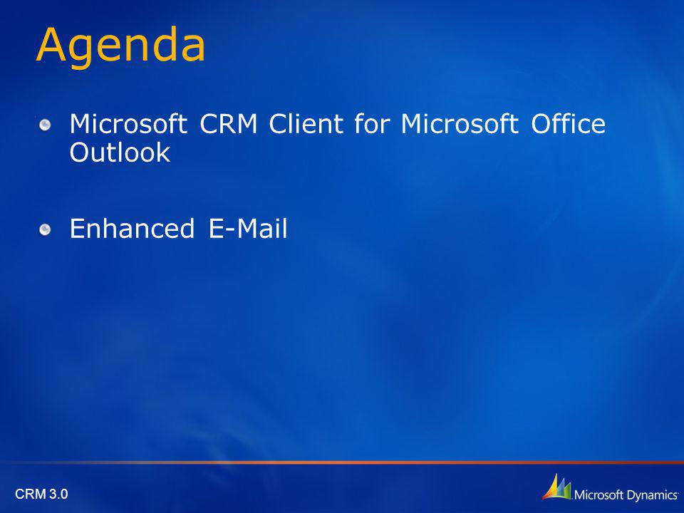 CRM 3.0 Outlook Synchronization When Working Offline Schedulable Synchronization feature has been added to keep data updated in Outlook folders while working offline The Microsoft CRM 3.0 Outlook Synchronization process includes the following features: Outlook Synchronization occurs automatically after the Offline Synchronization process has finished running.