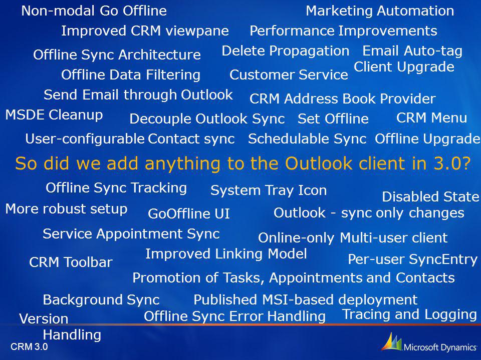 So did we add anything to the Outlook client in 3.0? Send Email through Outlook Offline Data Filtering CRM Menu CRM Toolbar Improved CRM viewpane Deco
