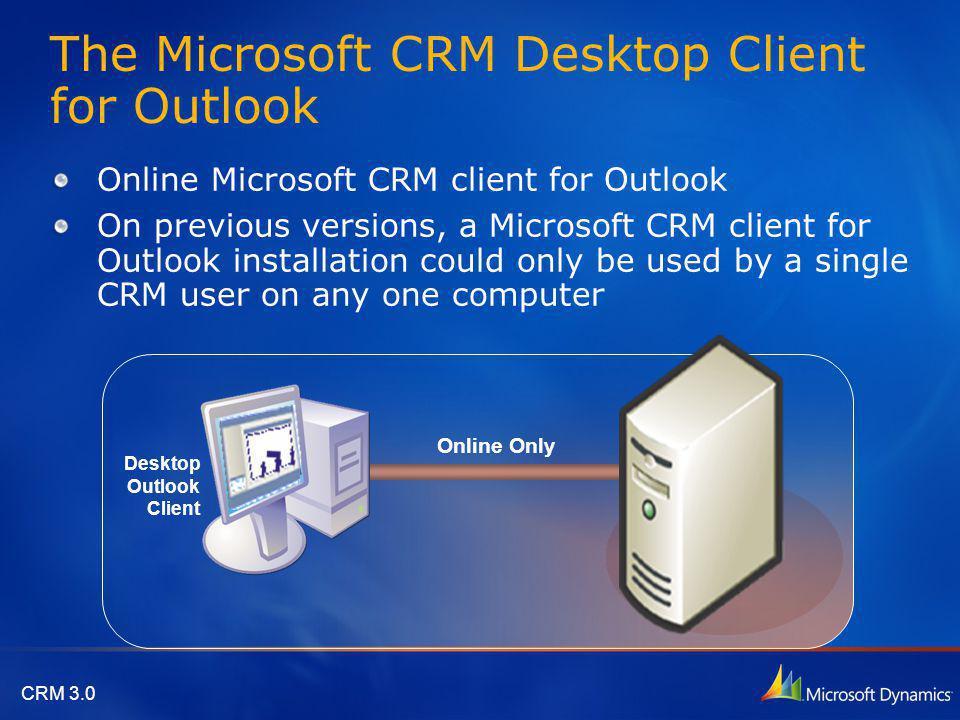 CRM 3.0 The Microsoft CRM Laptop Client for Outlook Online or Offline Laptop Outlook Client Includes Local version of: CRM Platform Logic Web server MSDE Database