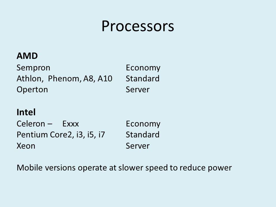 Processors AMD Sempron Economy Athlon, Phenom, A8, A10 Standard Operton Server Intel Celeron – ExxxEconomy Pentium Core2, i3, i5, i7Standard Xeon Server Mobile versions operate at slower speed to reduce power