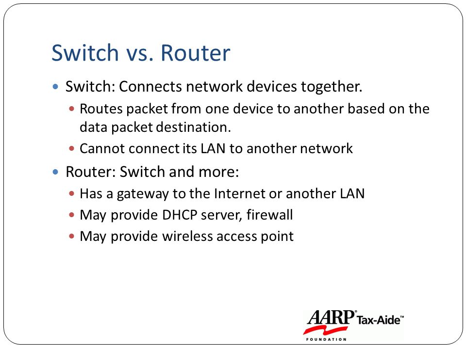 Switch vs. Router Switch: Connects network devices together. Routes packet from one device to another based on the data packet destination. Cannot con
