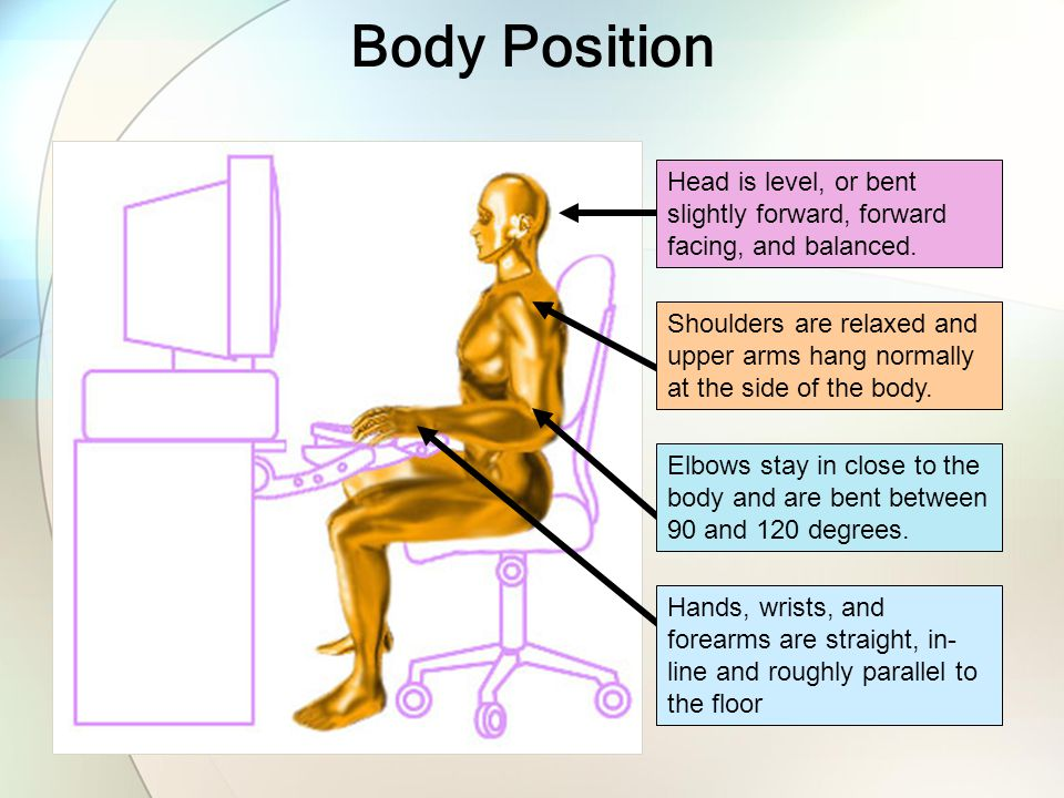 Body Position Hands, wrists, and forearms are straight, in- line and roughly parallel to the floor Elbows stay in close to the body and are bent betwe