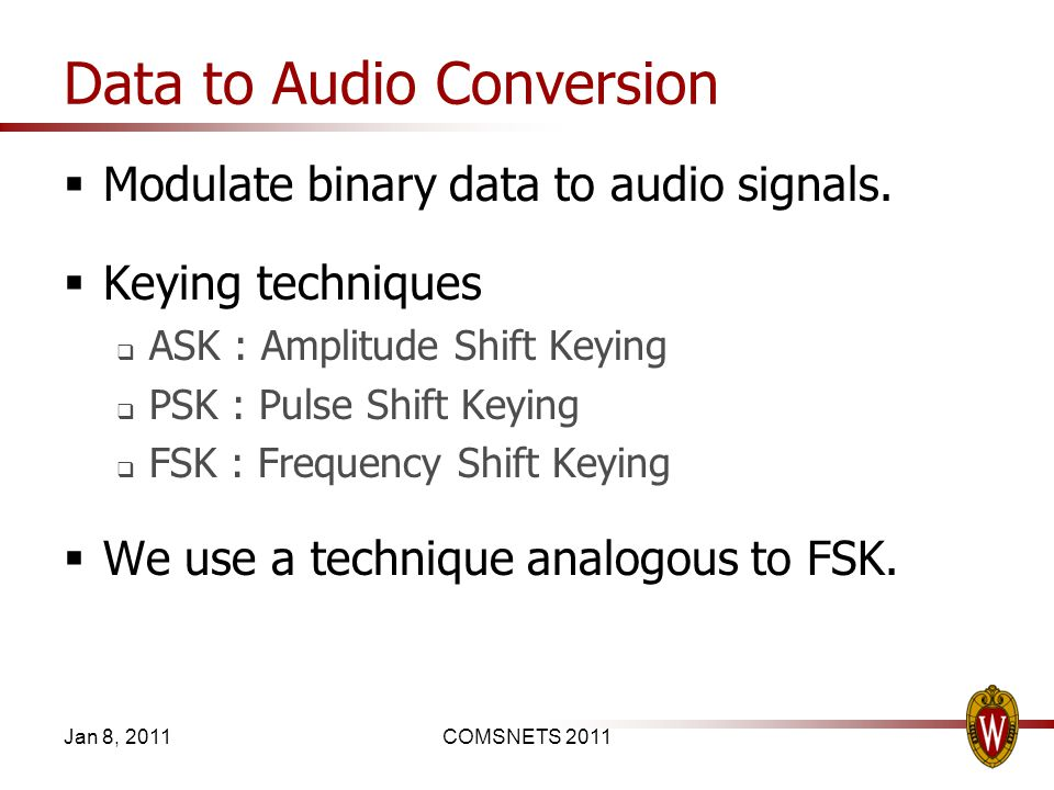 Data to Audio Conversion Modulate binary data to audio signals.