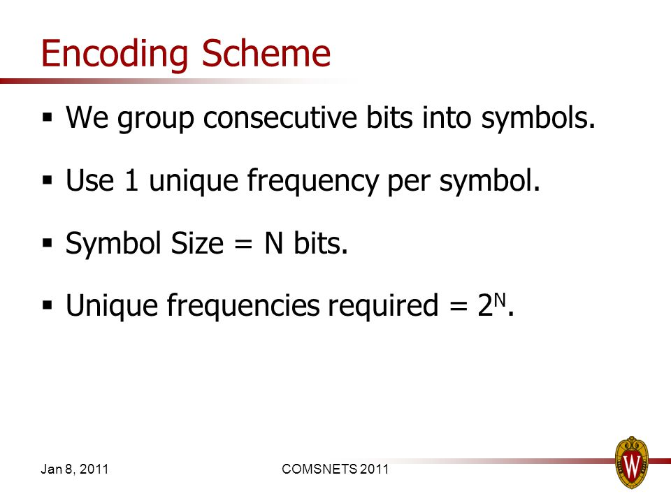 Encoding Scheme We group consecutive bits into symbols. Use 1 unique frequency per symbol. Symbol Size = N bits. Unique frequencies required = 2 N. Ja