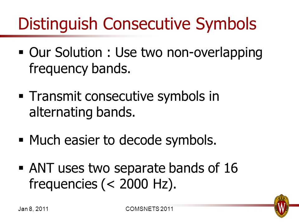 Distinguish Consecutive Symbols Our Solution : Use two non-overlapping frequency bands. Transmit consecutive symbols in alternating bands. Much easier