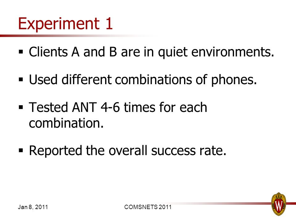 Experiment 1 Clients A and B are in quiet environments.